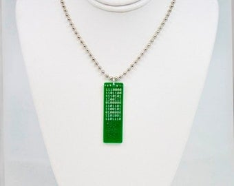 Secret Code USB Circuit Board Necklace with Ball Chain