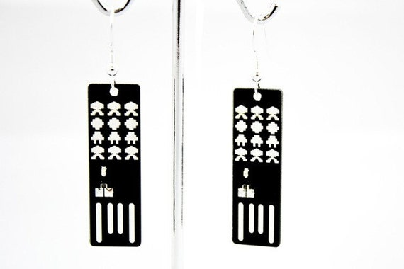 items similar to space invasion usb circuit board earrings in black