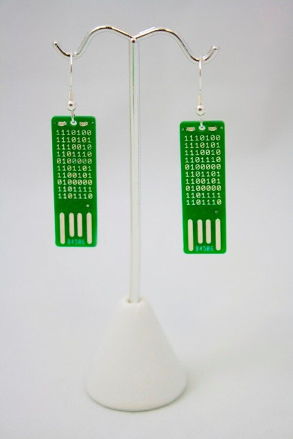 Secret Code USB Circuit Board Earrings - LIGHTS UP