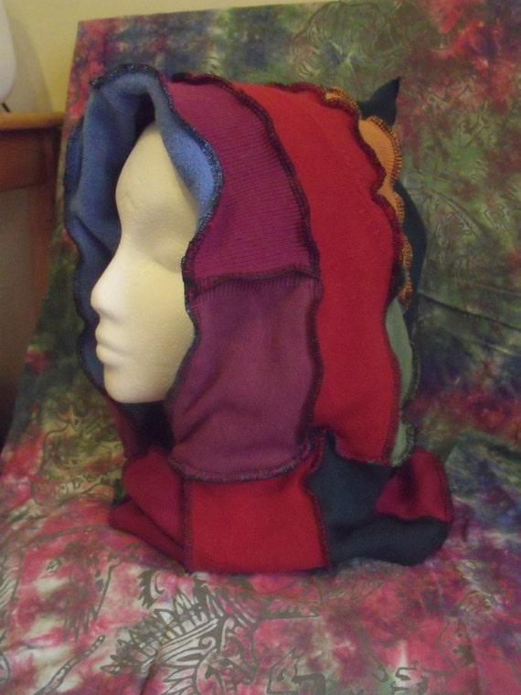CLEARANCE  Dark Rainbow Patchwork Sweater Hood and Neckwarmer