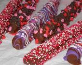 Valentine's Chocolate Covered Pretzel Rods