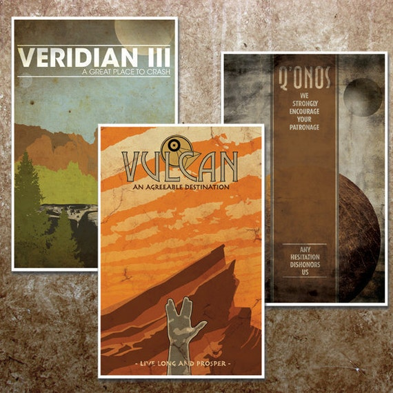"Star Trek Travel Poster Collection: ""Vulcan, Q'Onos, and Veridian III"" - 11""x17"" Vintage Science Fiction Art Prints"