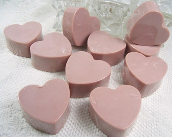Set 10 Heart Soap Bars, Guest Soap, Heart Shaped Soap, You pick the color & scent