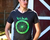 Unisex BIKE Wheel Grey and Green V-neck T-shirt - Available in YL, S, M, L, XL