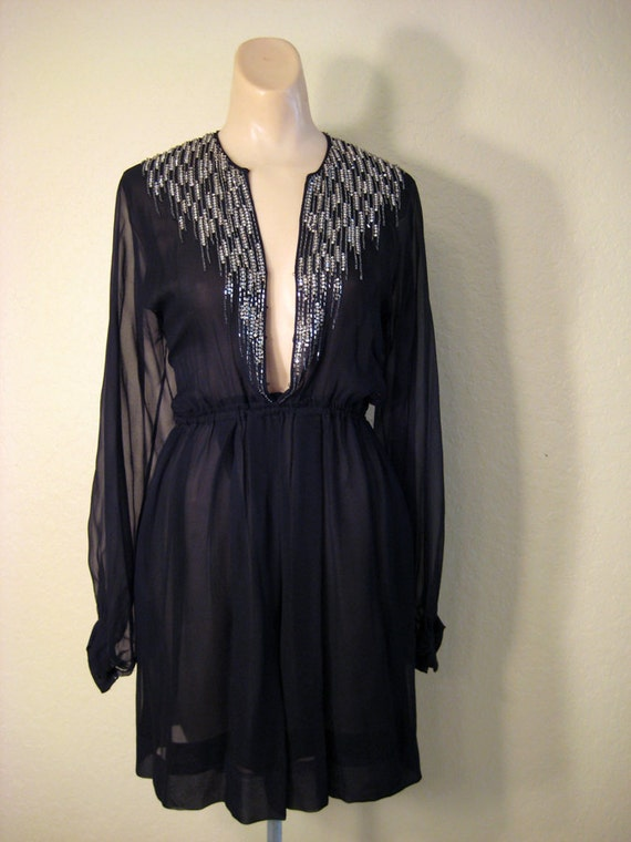 70s Sexy Sheer black party Disco Dress with Rhinestone size S/M