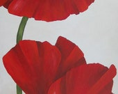 Original Painting on Deep Edged Canvas Red Poppies 12x32