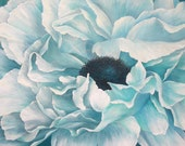 Original Framed Painting, Peony Ice