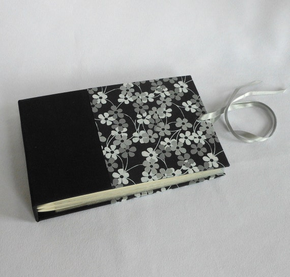 Mini Photo Album White and Silver Flowers on Black - holds 48 4x6 photos - Ships Now
