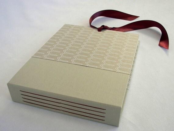 SALE 7x10 Photo Album or Scrapbook - Khaki Zig Zag with Merlot Ties - In Stock