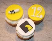 Fondant cupcake toppers Graduate Diploma Year Cap