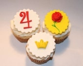 Fondant cupcake toppers Rose, Crown, Princess