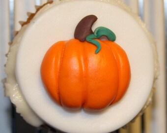 Fondant cupcake topper Pumpkin