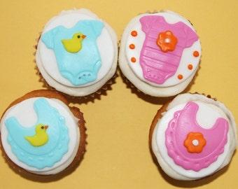 Baby shower fondant cupcake topper