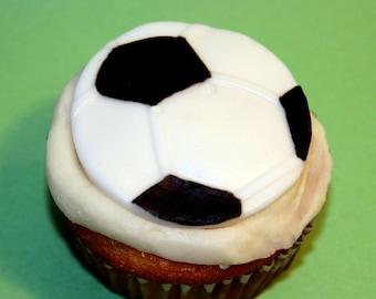 Fondant Cupcake topper Soccer Ball