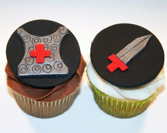 Fondant cupcake toppers Knight's Shield and Sword