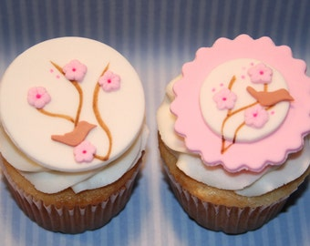 Fondant cupcake toppers Cherry Blossom, Wedding, Mother's Day