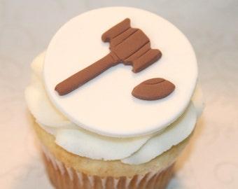 Fondant cupcake toppers Gavel Judge Law Graduate