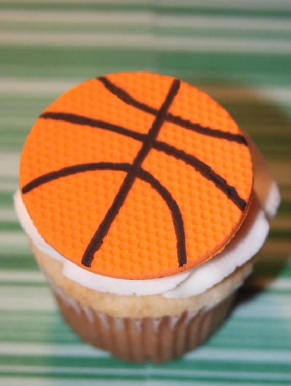 Fondant cupcake toppers Basketball