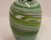 Handmade vase - Yellow, Green and White Spiral vase, blown lead crystal glass - FHFteam y3