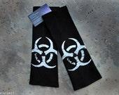 BIO-HAZARD 11 - Arm Warmer Sleeves Post-Apocalyptic Silver and Black Distressed Organic Cotton