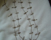 Silver fetish  2 strand 30 silver birds and one Eagle  necklace vintage liquid silver 23 inches long