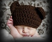 Newborn Bear Hat   Little Bear Cub Chocolate Brown