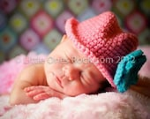 Cowgirl Baby Hat Pink with Turquoise Flower