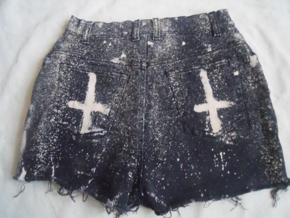"Black  Cross Bleached Studded Shorts 27"""