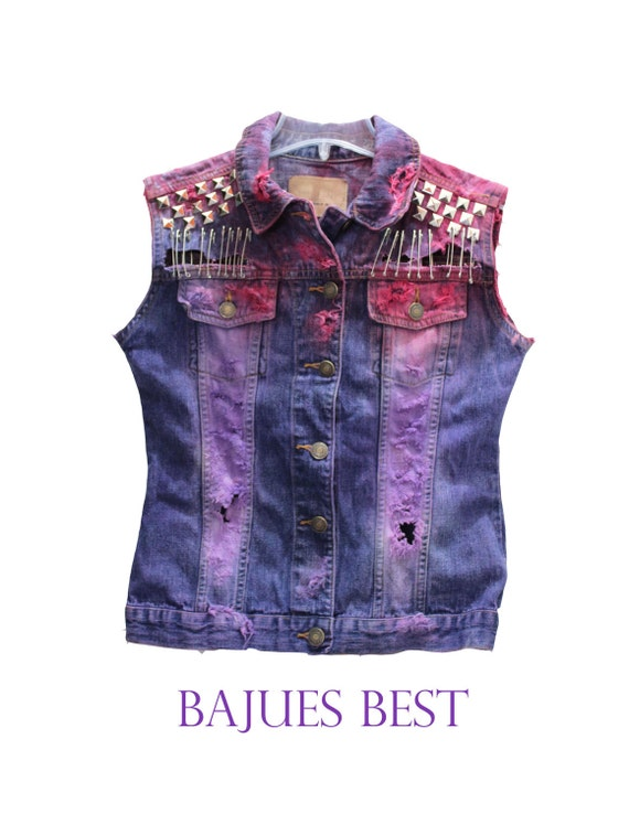 Super Cool Raw Dyed Studded Vest