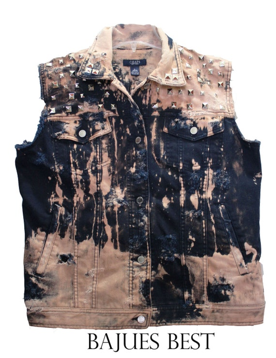 Raw Bleached Studded Blue Vest