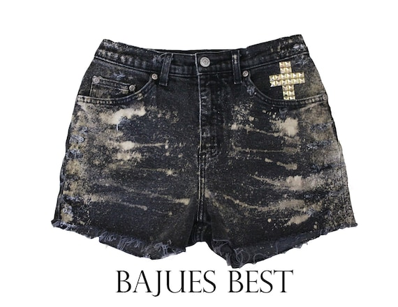 SUPER SALE- Awesome Black Bleached Cross Shorts