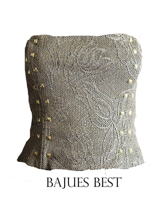 Amazing Sequins Studded Gold Tube Top