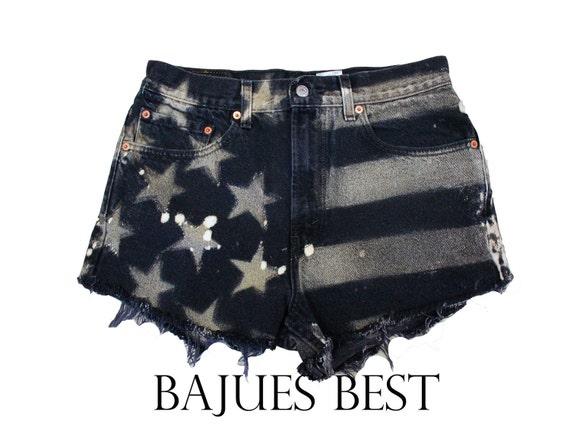 Raw Black American Flag Distress Shorts