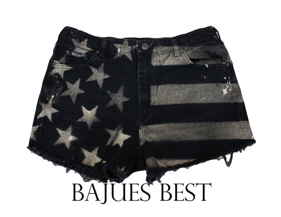 Raw Black American Flag Distress Shorts