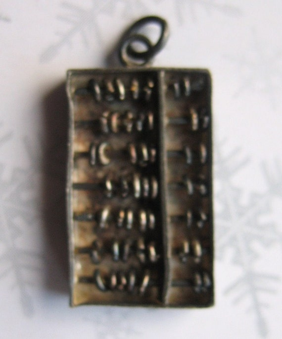 Vintage Sterling Silver Charm In The Shape Of An Abacus One Half Inch