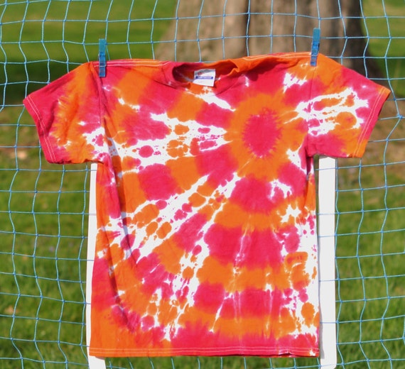 Tie Dye Pink Orange Bullseye Kids Shirt Hippie 14 16