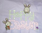 """Adorable """"Hoppy Easter"""" Embroidered Dog Bandanna for a Happy Easter:  Custom Options"""