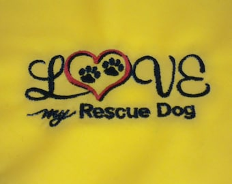Love My Rescue Dog Embroidered Dog Bandana