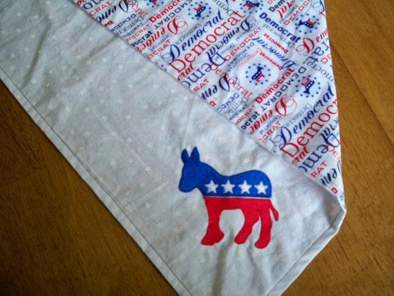 Proud Democrat Embroidered Reversible Dog Bandana:  Size XXL