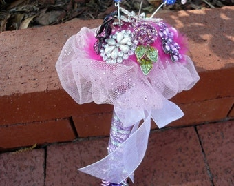 Pink flower girl jeweled bling bouquet