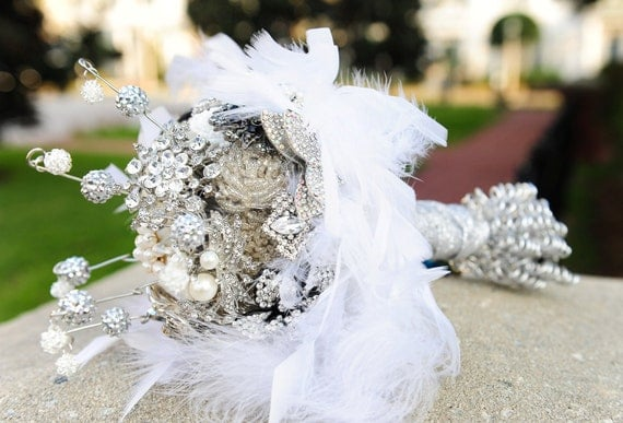 Crystal jewelry bridal bouquet with porcelain I do button