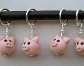 4 Litte Piggie  Stitch Markers:  Pink Pig Knitting Stitch Markers