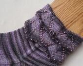 Knit Sock Pattern:  Beaded Cuff Knitted Sock Pattern