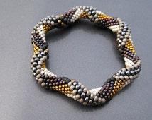Bead Crochet Pattern: Tie Dye Reverse Spiral Bead Crochet Bangle Pattern