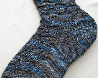 Knitting Sock Pattern:  Easy Blue Jean Knitting Sock Pattern