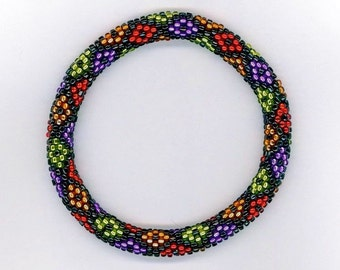 Bead Crochet Pattern:  Nine Color Little Diamonds Bead Crochet Bangle Pattern