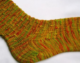 Knitted Sock Pattern:  Easy Slipped Stitch Knitting Sock Pattern