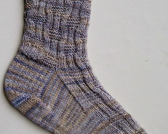 Knit Sock Pattern:  Easy Eccentric Ribbing Knitted Sock Pattern