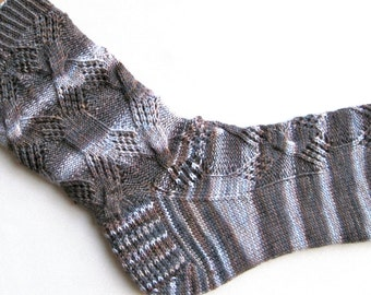 Knit Sock Pattern: Diamond Lace Cable Knitted Sock Pattern