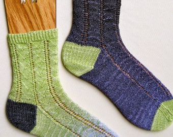 Knit Sock Pattern:  Feather Maki Lace Socks Knitting Pattern